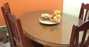 Custom Glass Tabletop LA/Orange Glass & Door